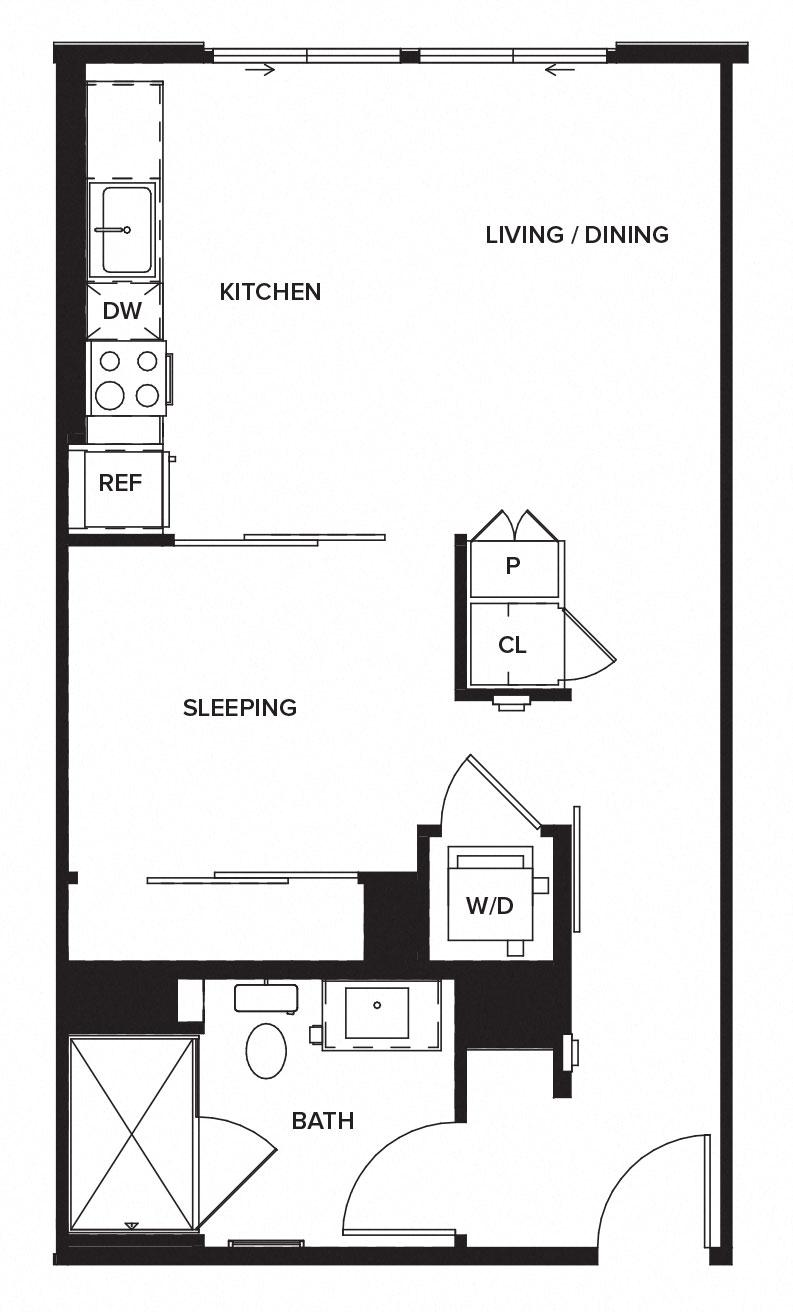 One Paseo Studio S1 Floorplan