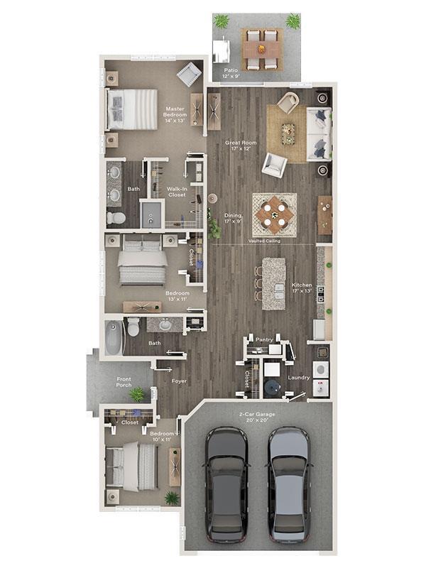 Three Bedroom Ranch Villa