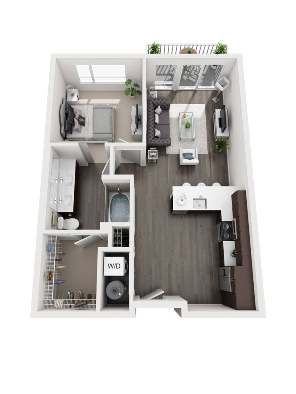 Plan 1 bedroom – A1-P | 1 Bath