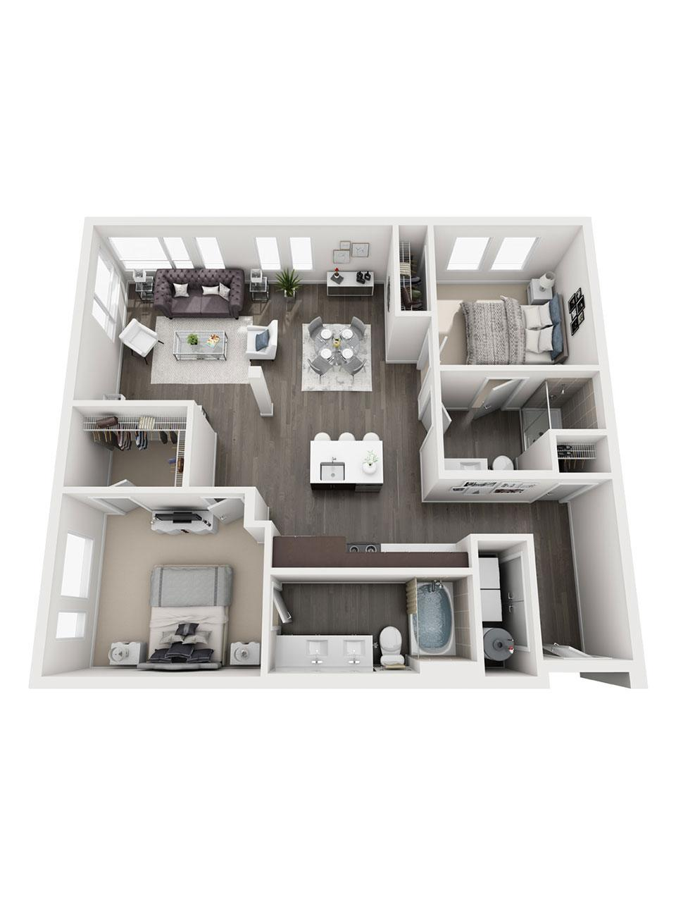 Plan 2 Bedroom – B2 | 2 Bath
