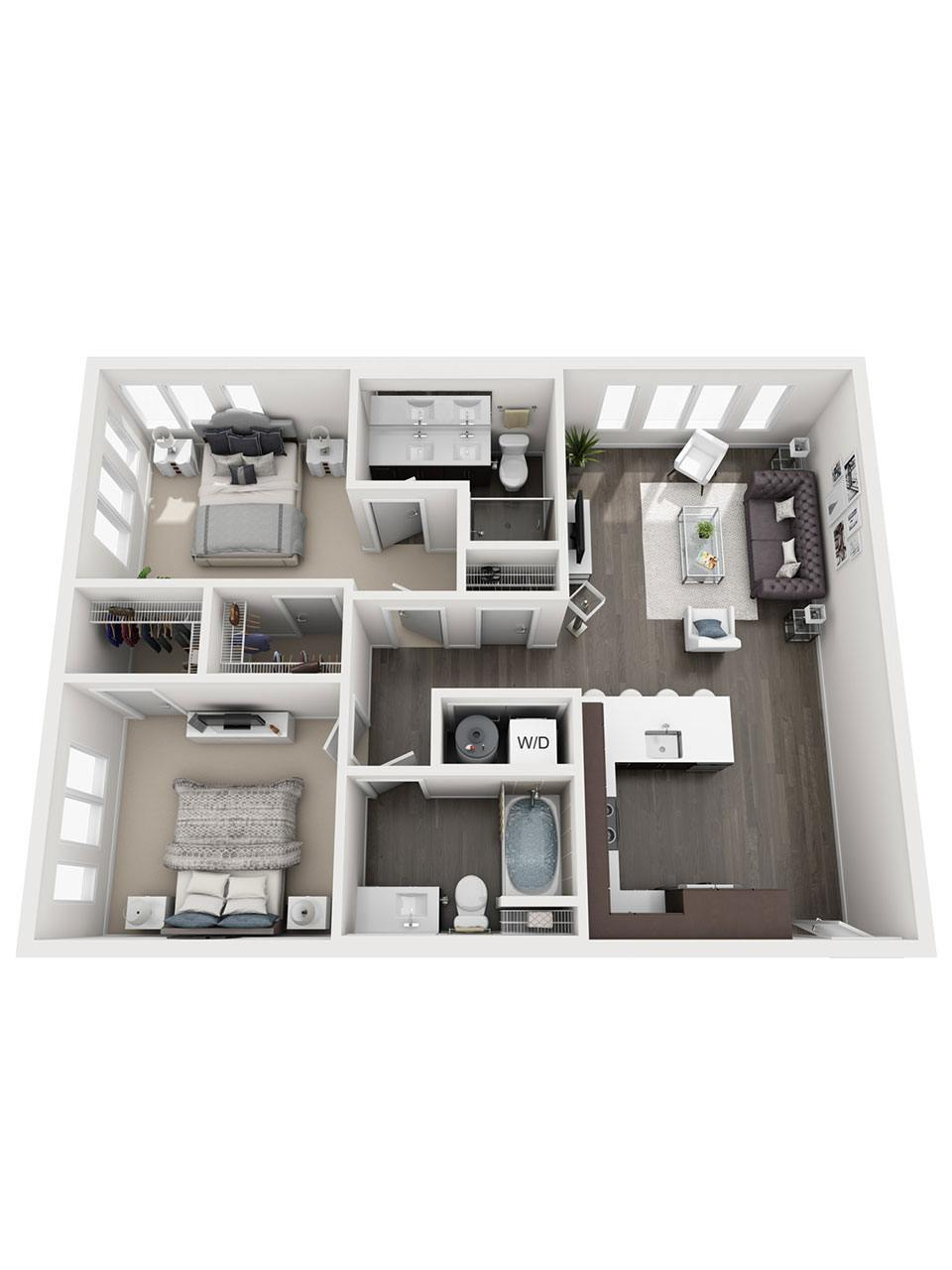 Plan 2 Bedroom – B3 | 2 Bath