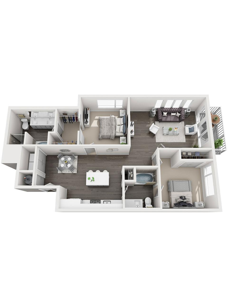 Plan 2 Bedroom – B5 | 2 Bath