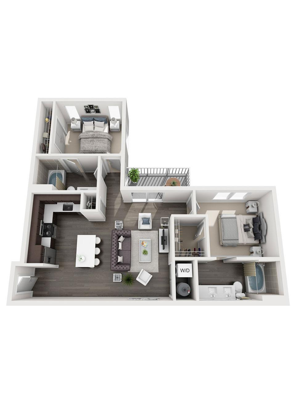 Plan 2 Bedroom – B6 | 2 Bath