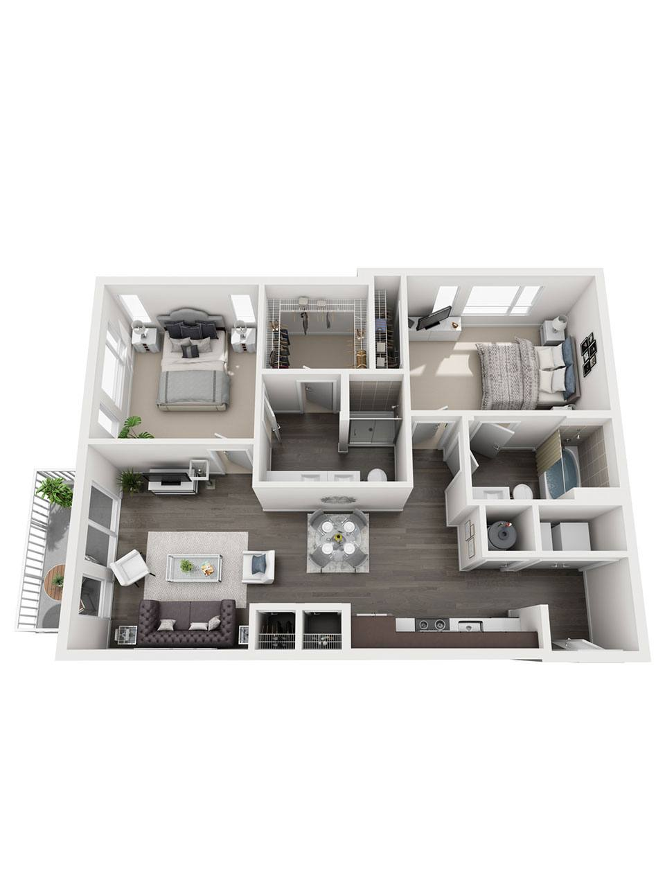 Plan 2 Bedroom – B8 | 2 Bath