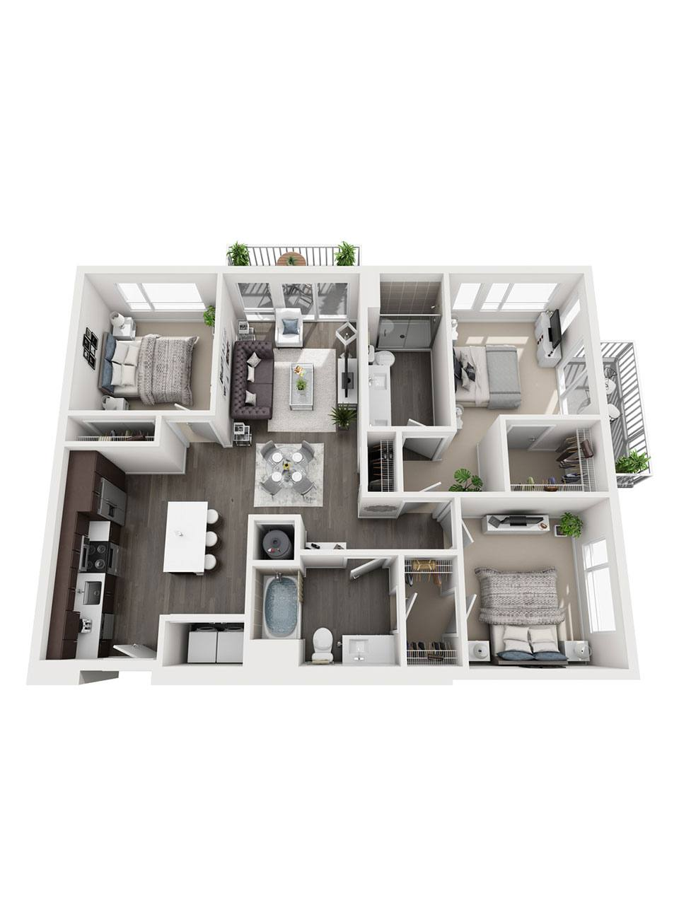 Plan 3 Bedroom – C1 | 2 Bath
