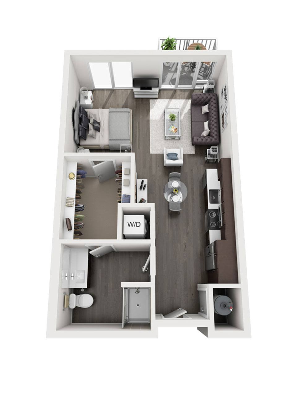 Plan Studio E1 | 1 Bath