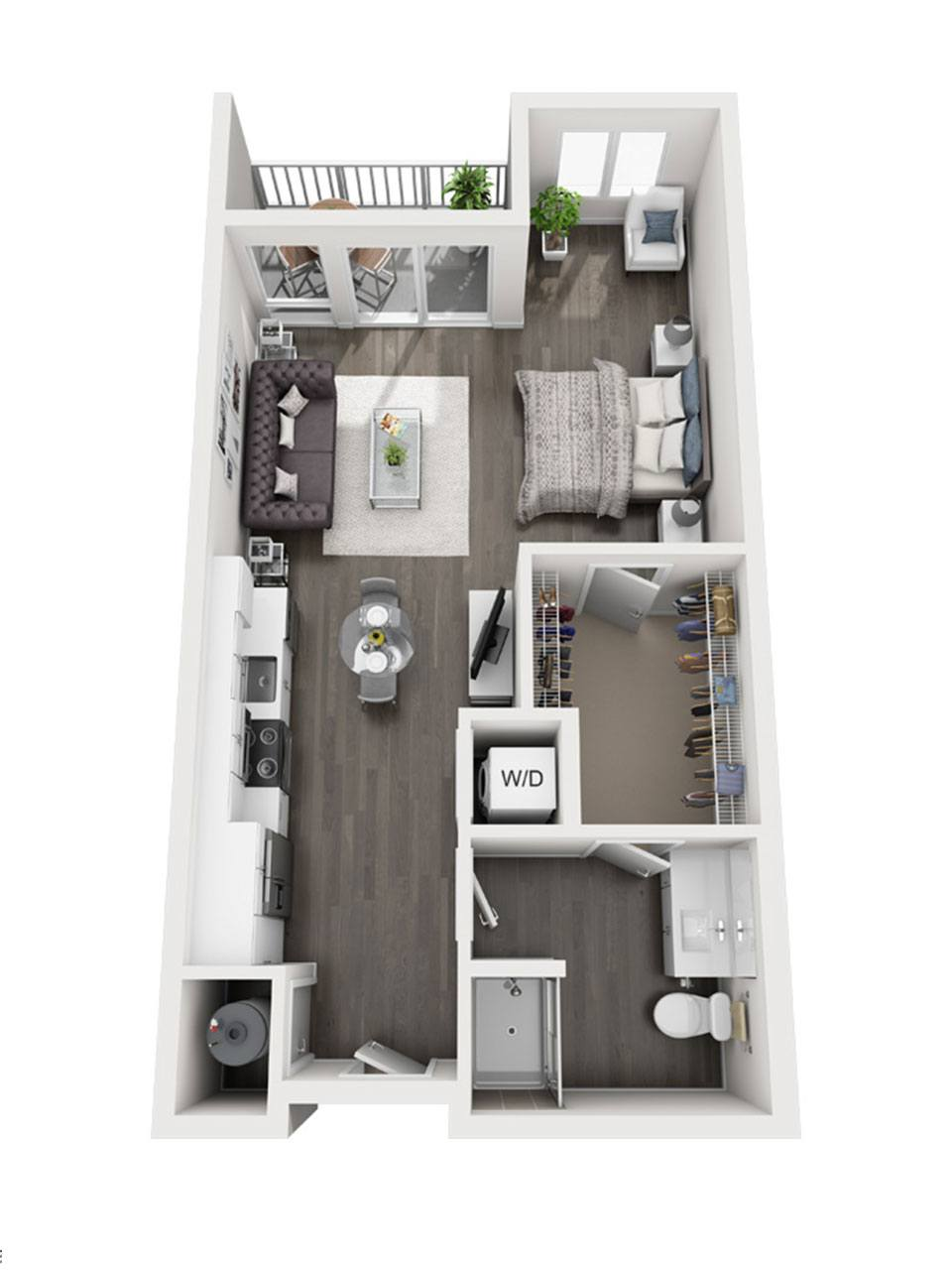 Plan Studio E2 | 1 Bath