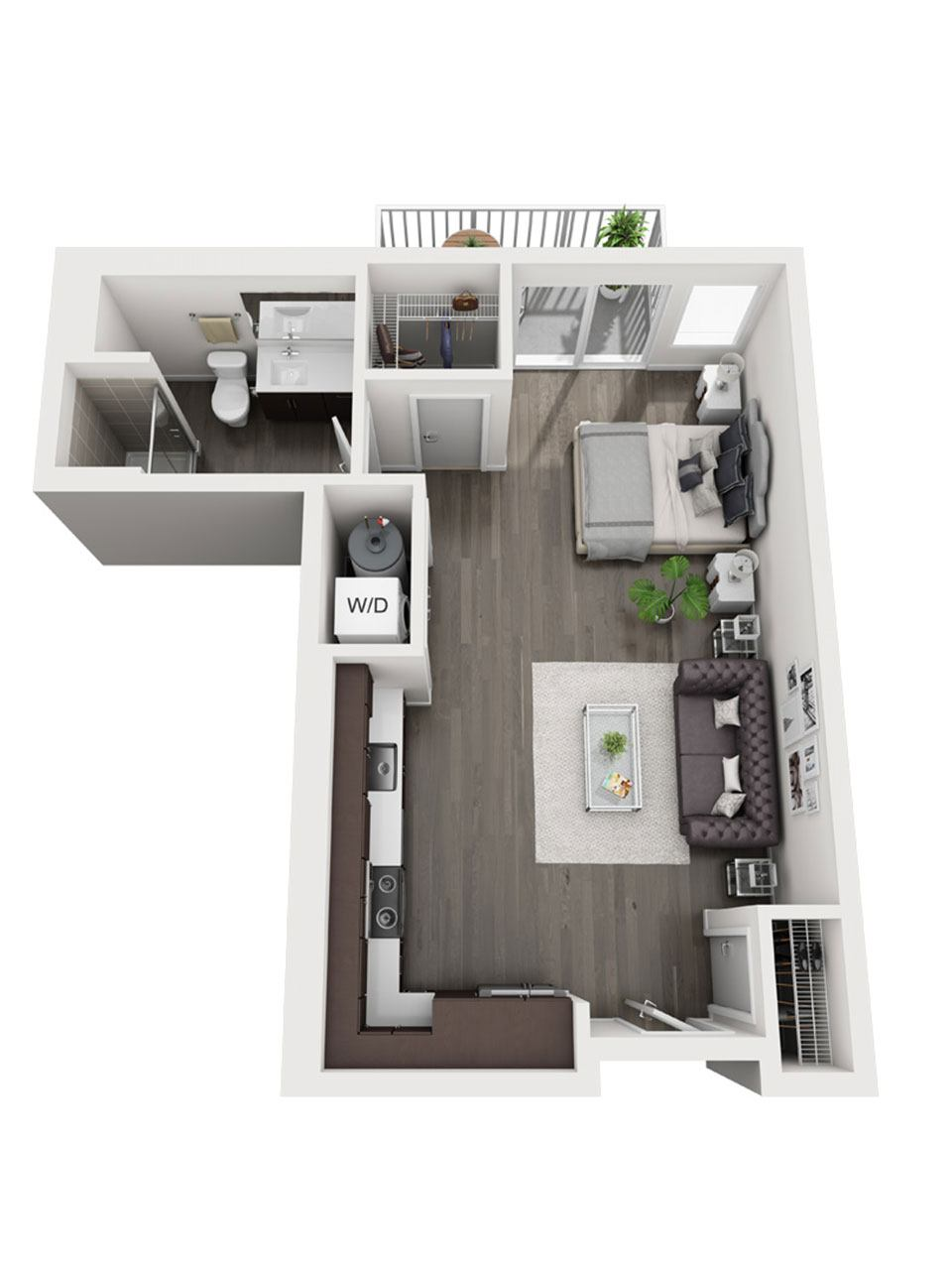 Plan Studio E3 | 1 Bath