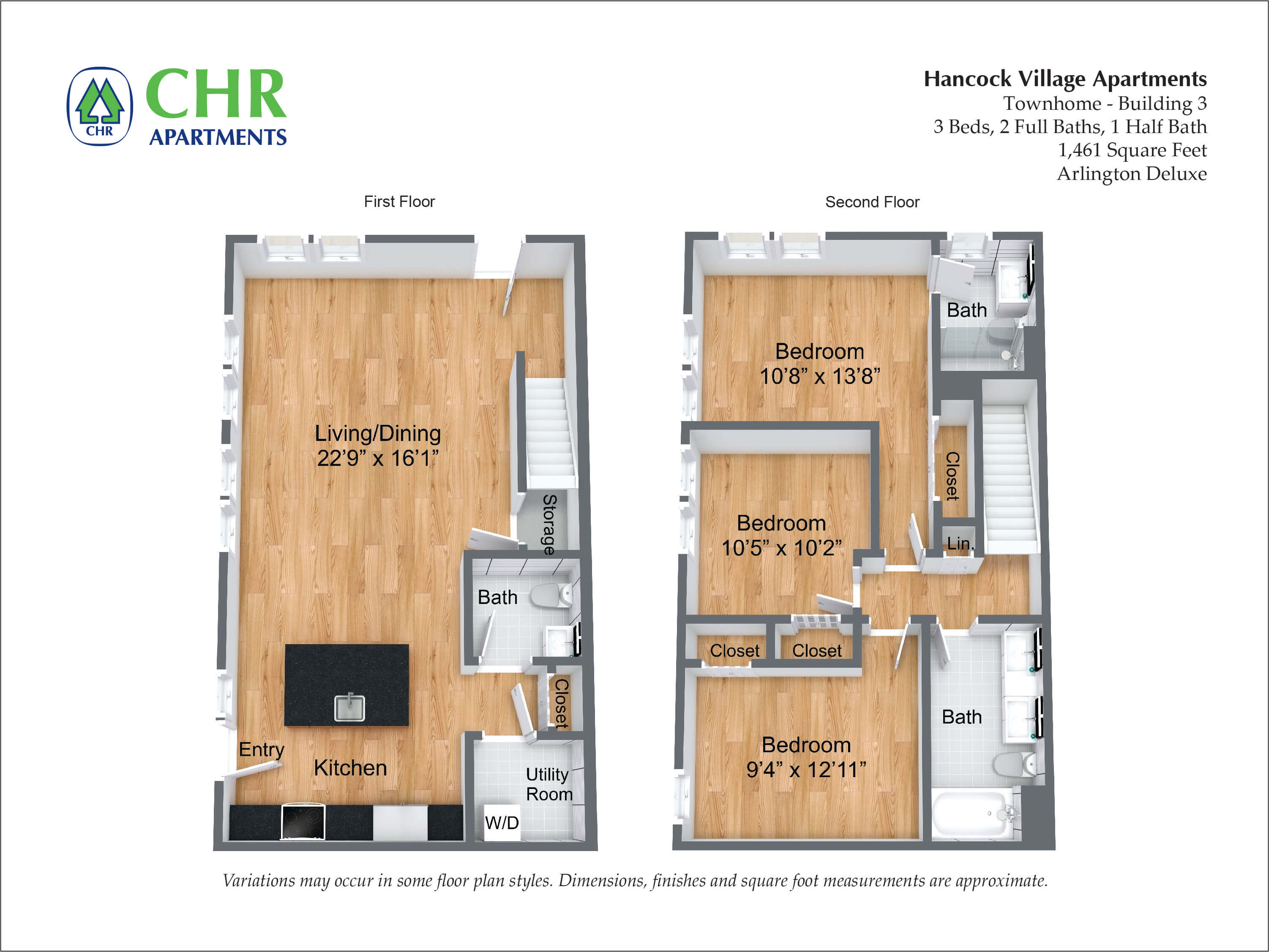 Click to view NEW Arlington Deluxe Townhome - 3 Bed/2.5 Bath floor plan gallery