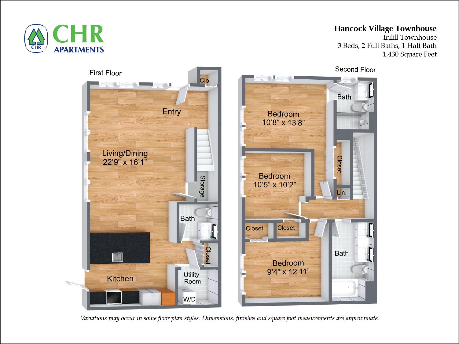 Floor plan Arlington NEW Deluxe Townhome - 3 Bed/2.5 Bath image 2
