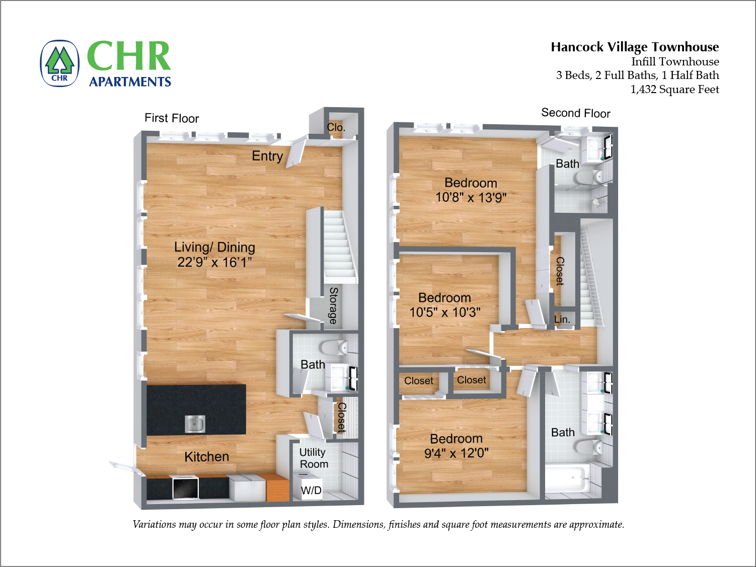 Click to view Arlington NEW Deluxe Townhome - 3 Bed/2.5 Bath floor plan gallery