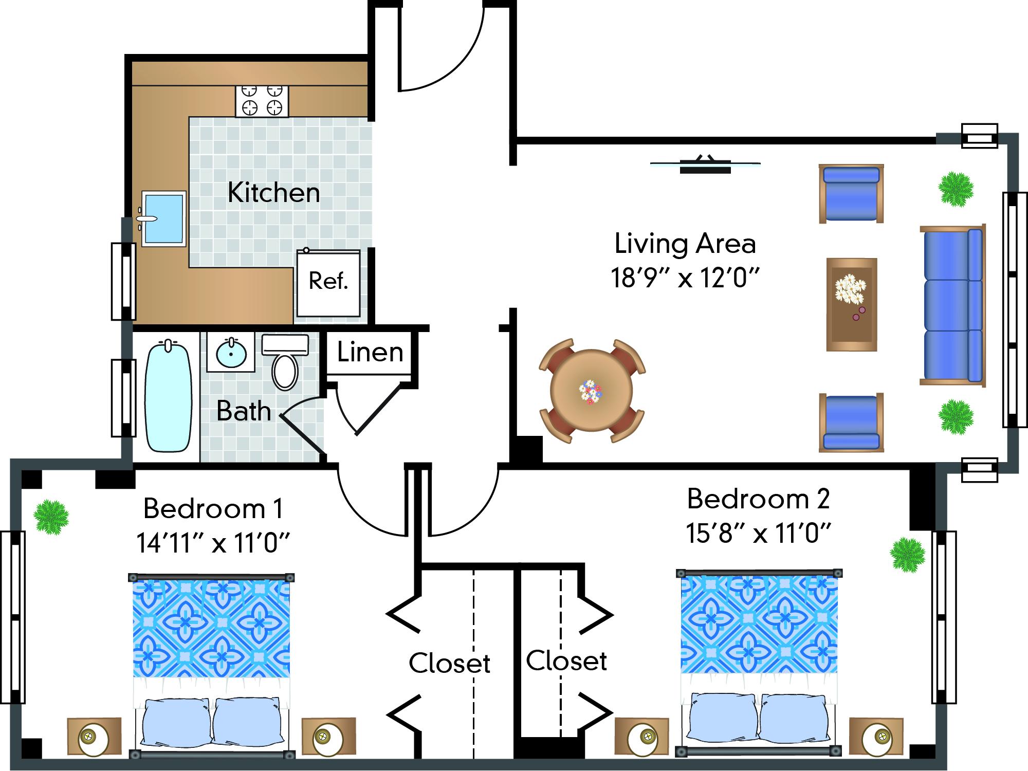 2 Bed | 1 Bath