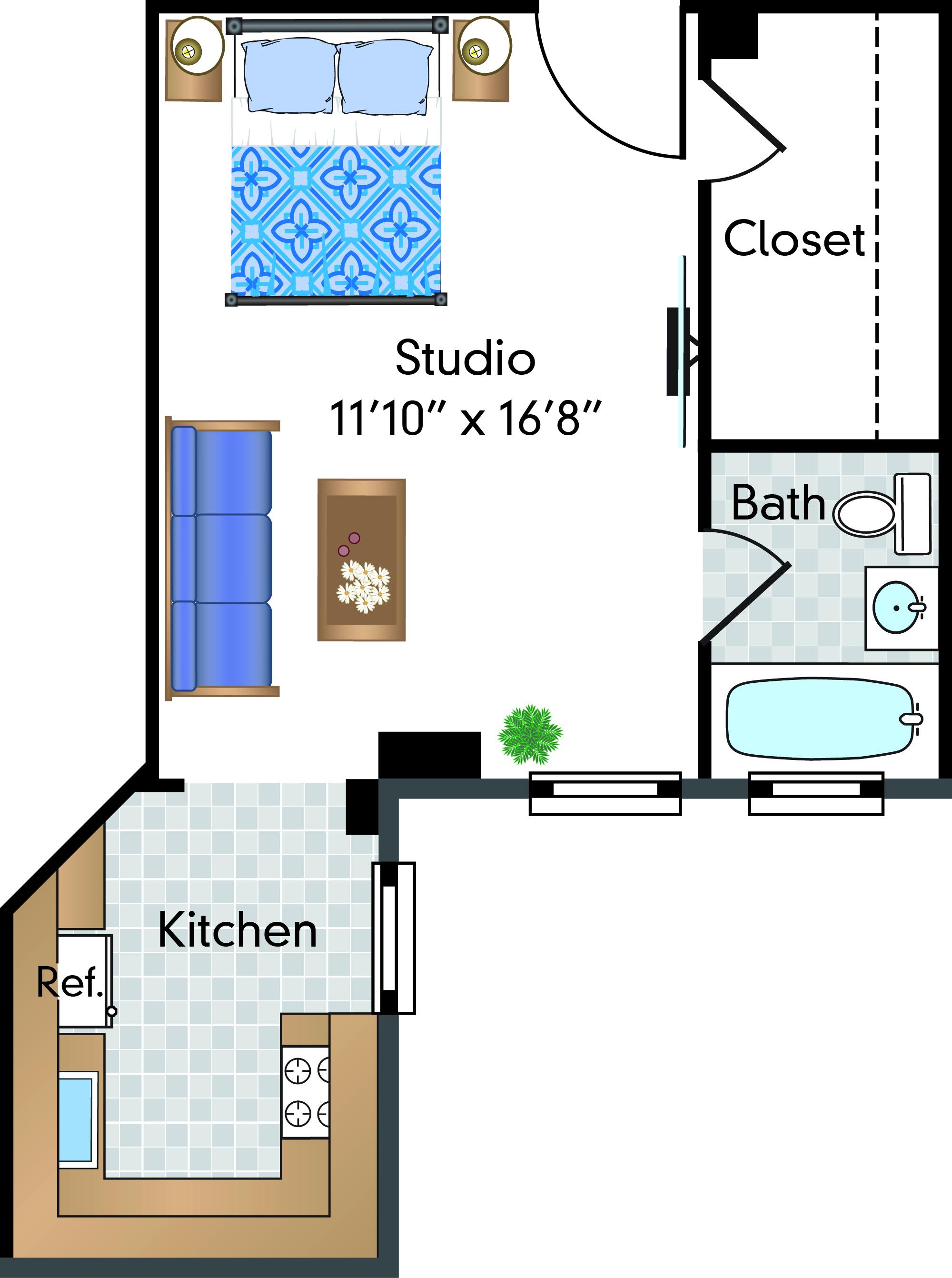 1 Bed | 0 Bath