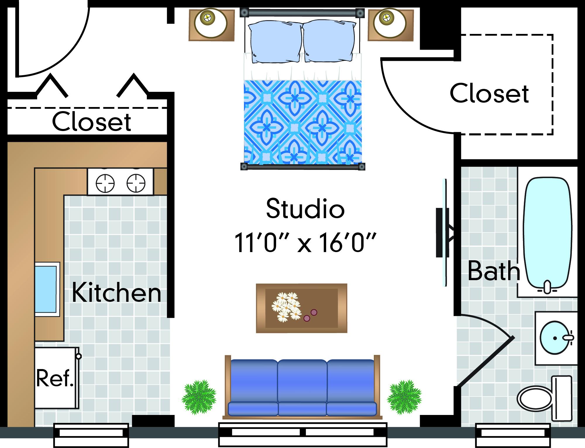 Studio | 1 Bath