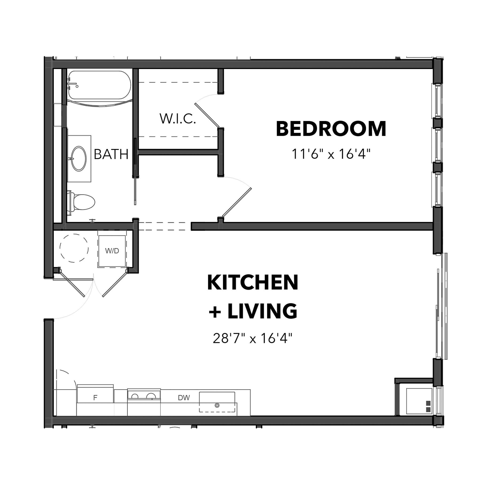 The 1 Bedroom 5 (Orange)
