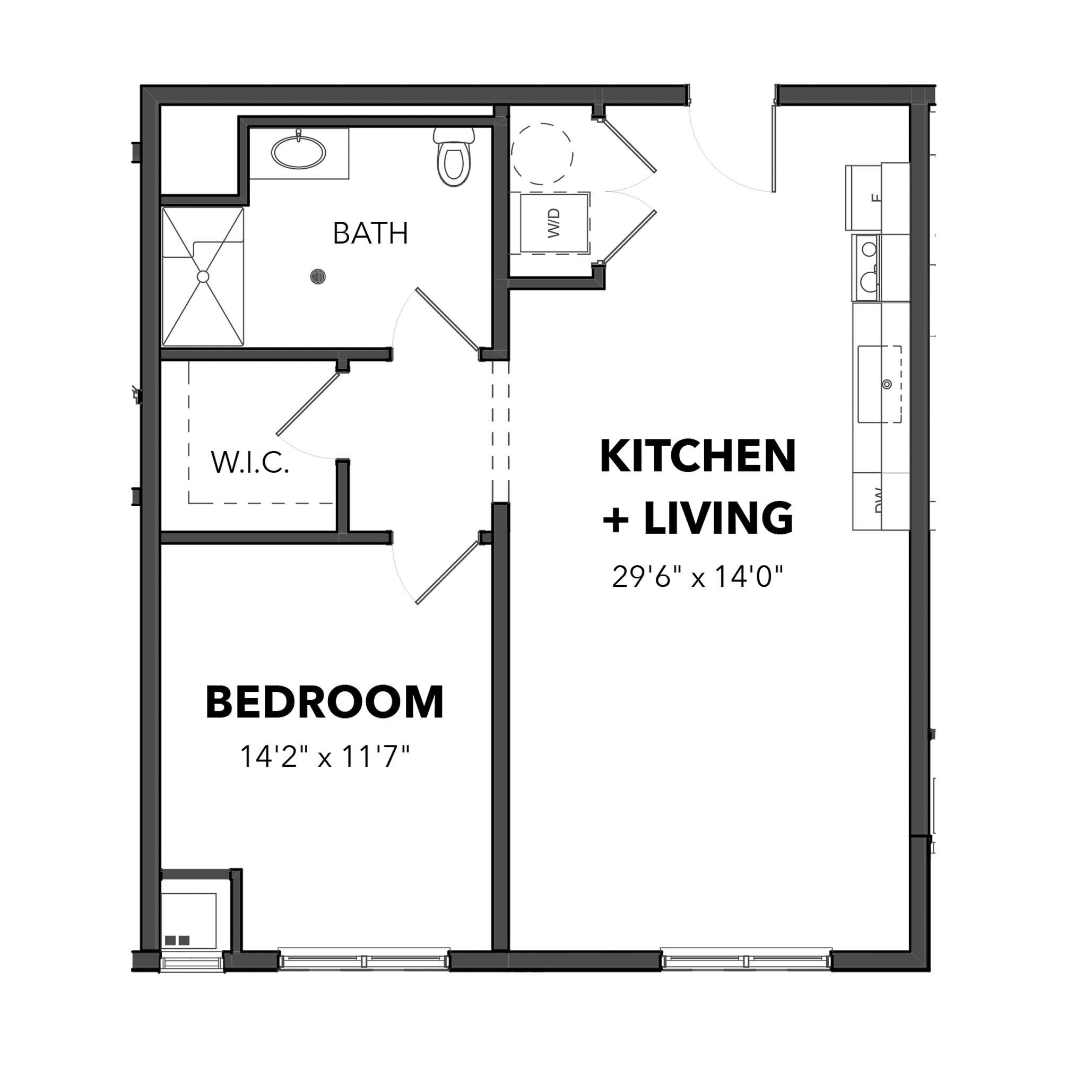 The 1 Bedroom 7 - ADA (Orange)