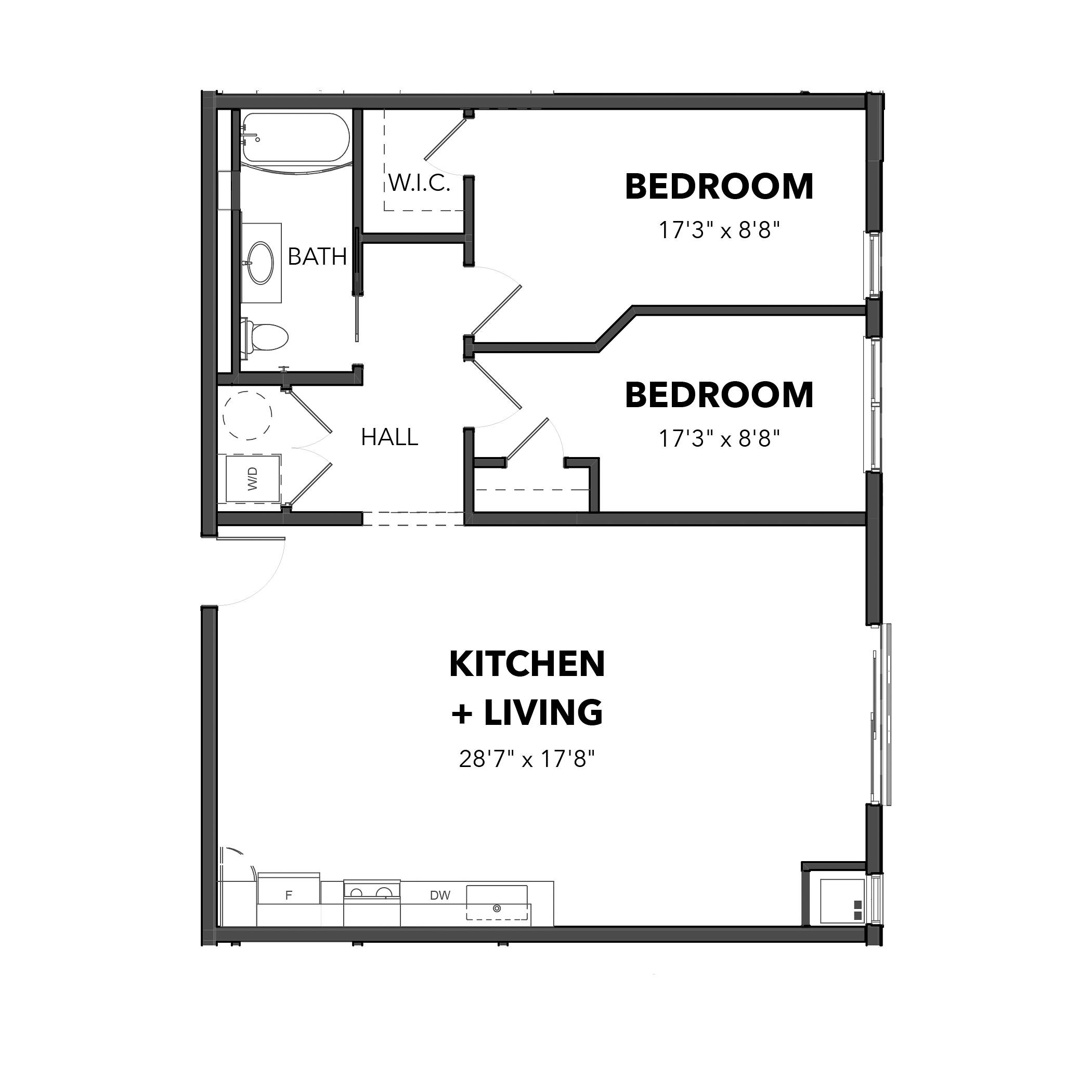 The 2 Bedroom 4 (Orange)