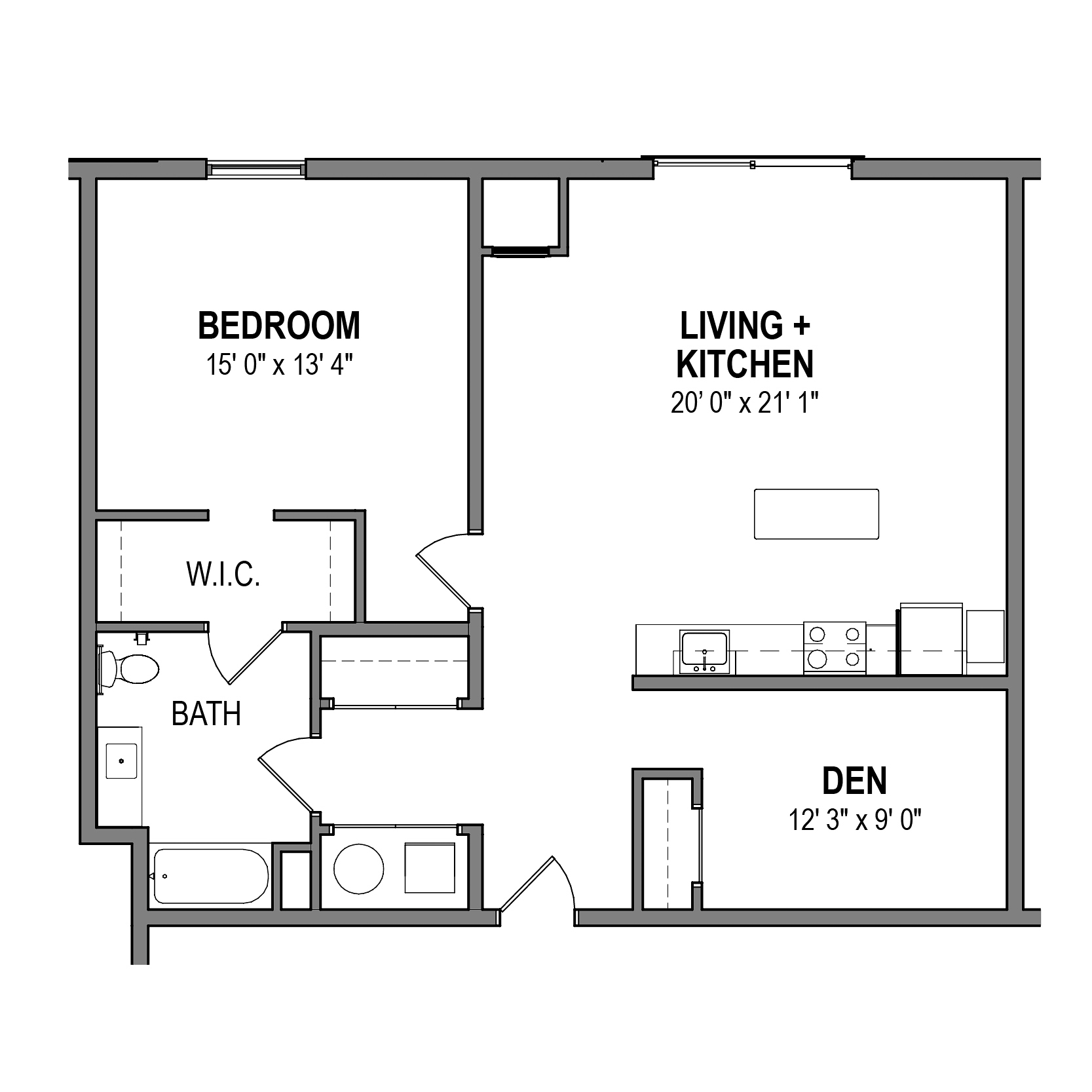 Bronze 1 Bedroom w/ Den