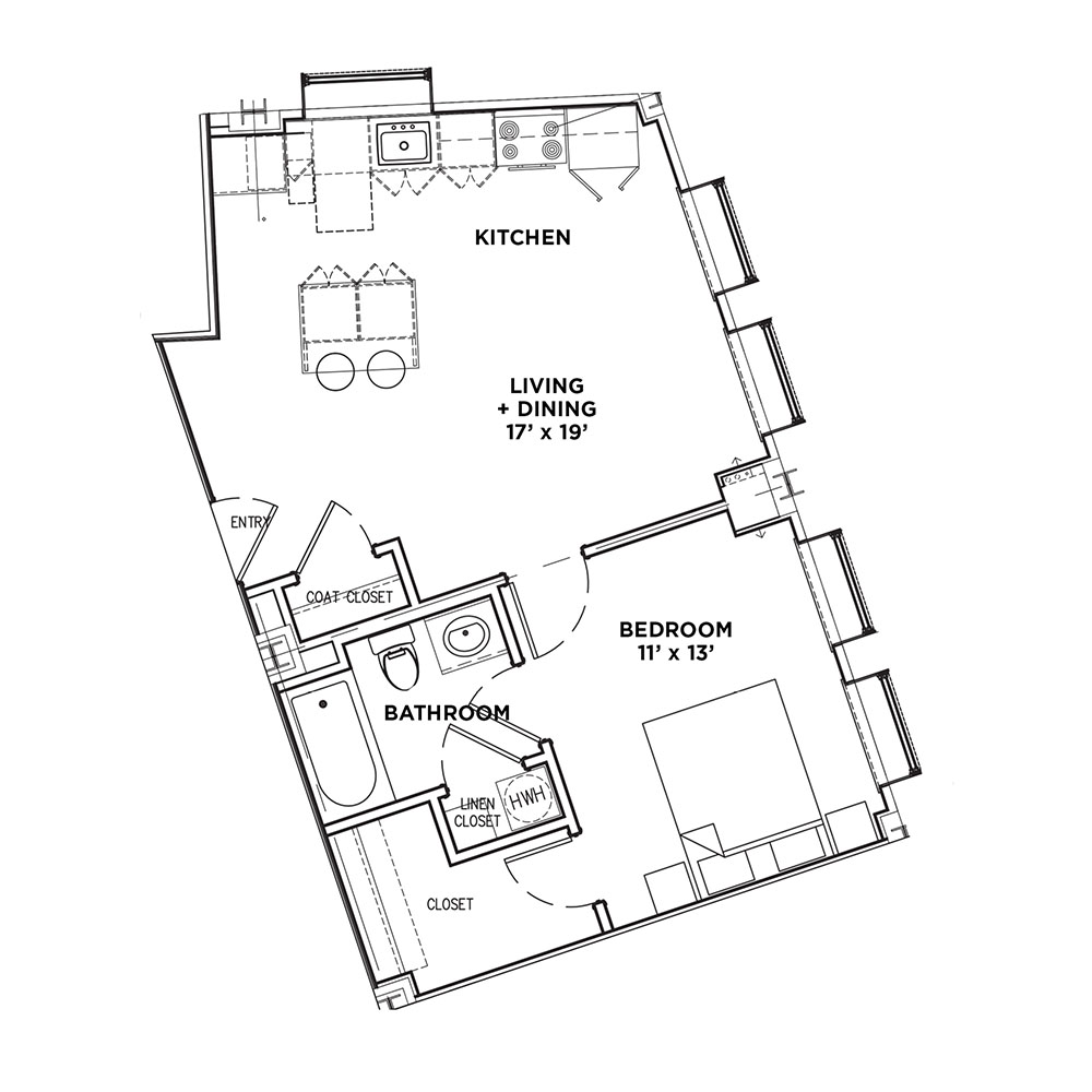 1 BR 1 Bath Suite A (Highland Building)