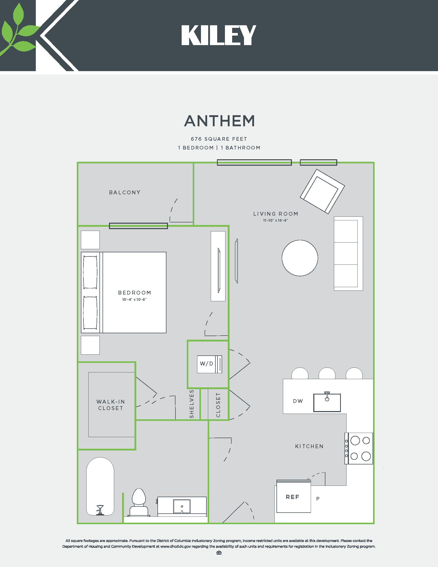 Anthem (1 bed /1 bath) Floor Plan