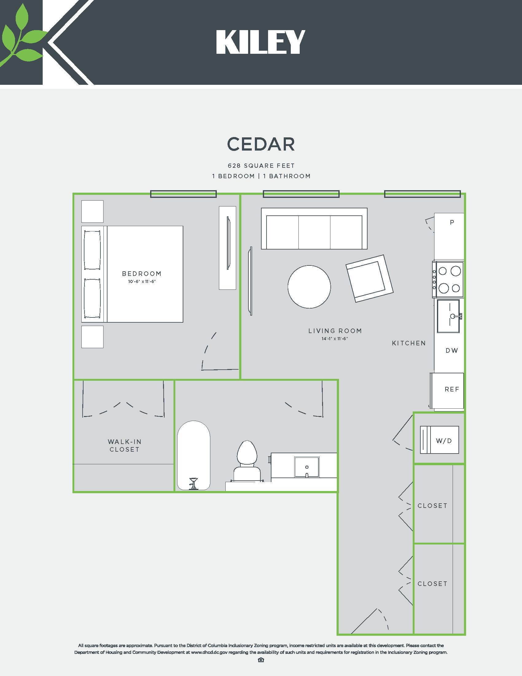 Cedar (1 bed /1 bath) Floor Plan