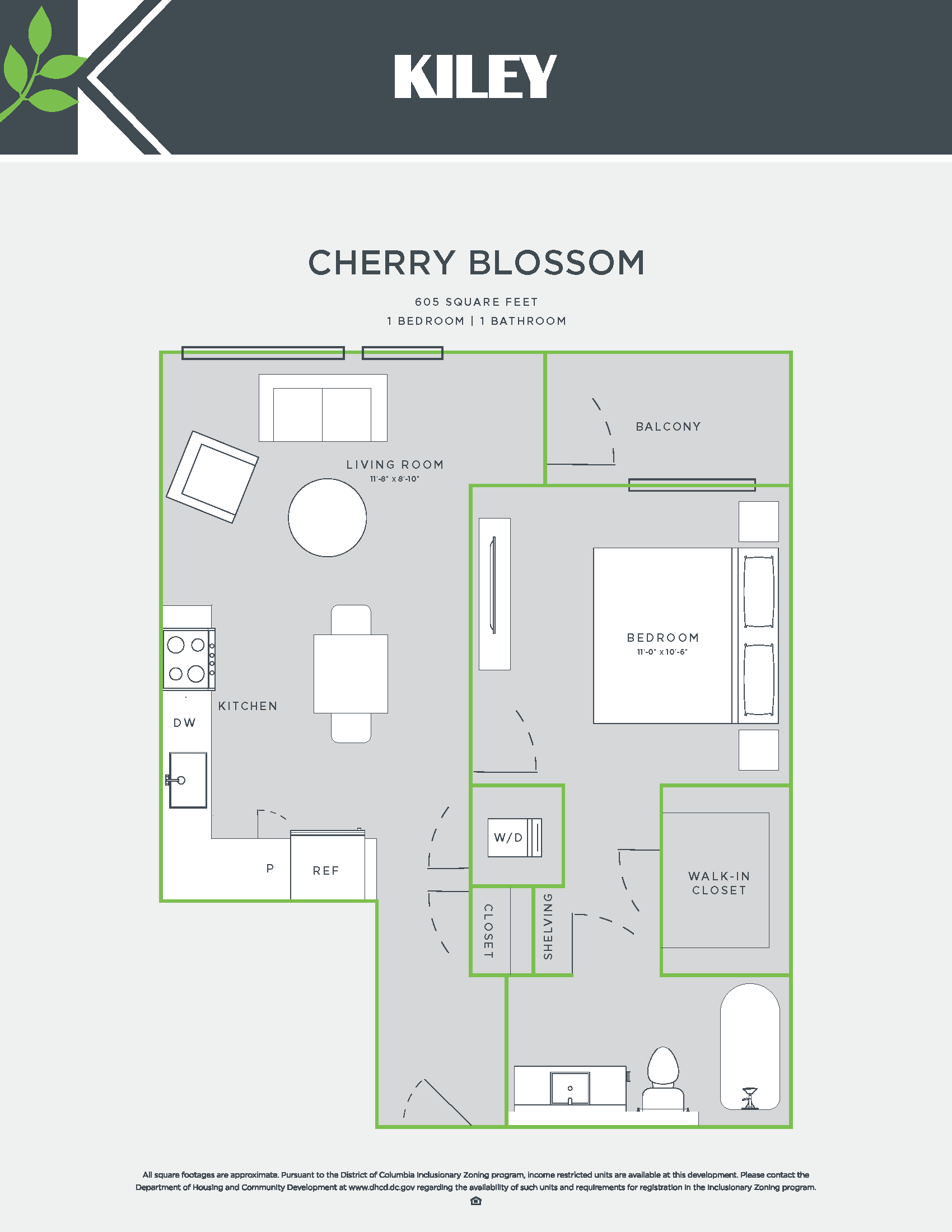 Cherry Blossom (1 bed /1 bath) Floor Plan