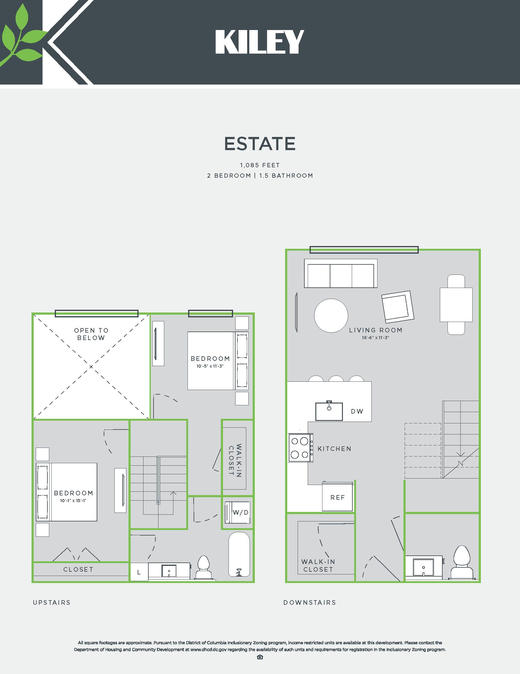 Estate (2 bed /1.5 bath) Floor Plan