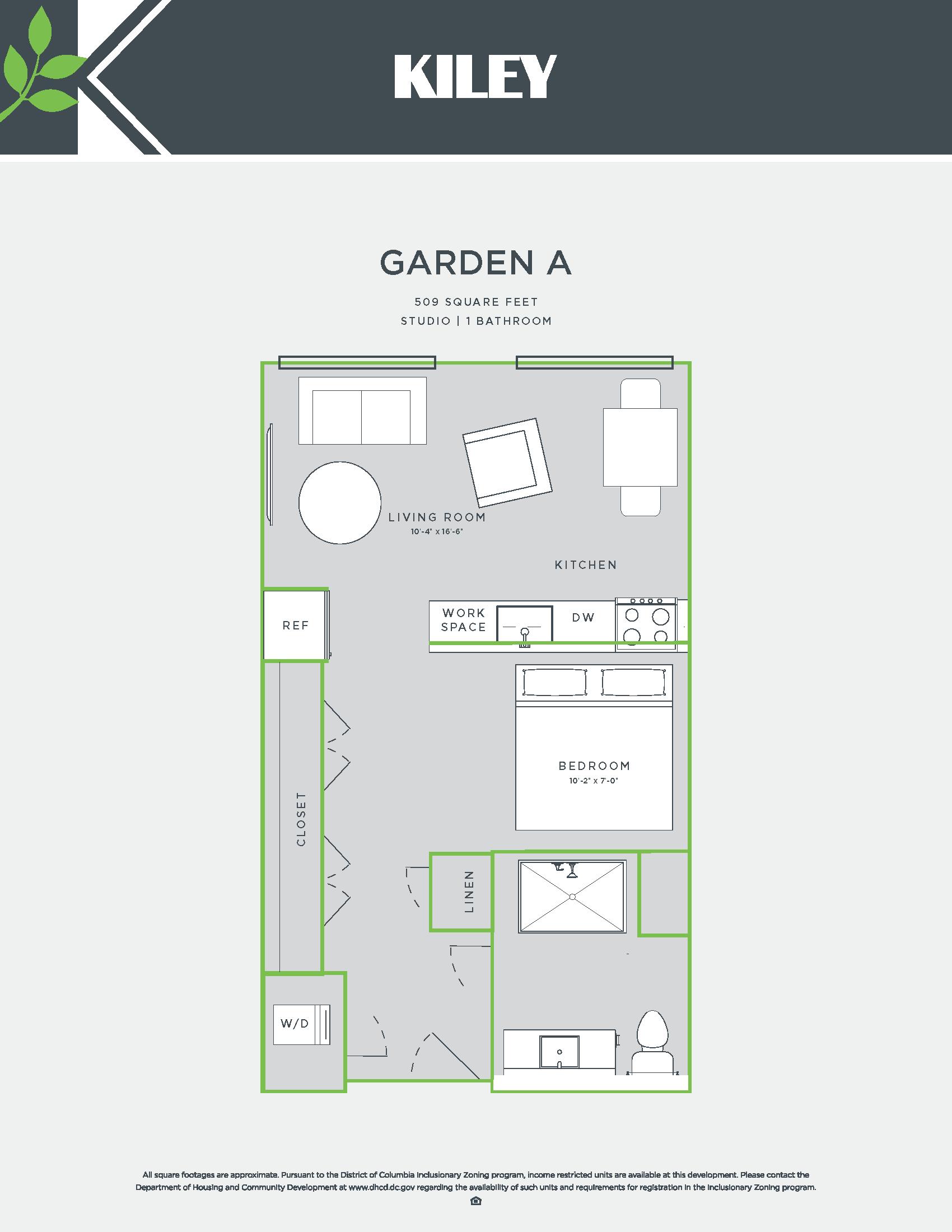 Garden A (jr. 1 bed /1 bath; accessible) Floor Plan