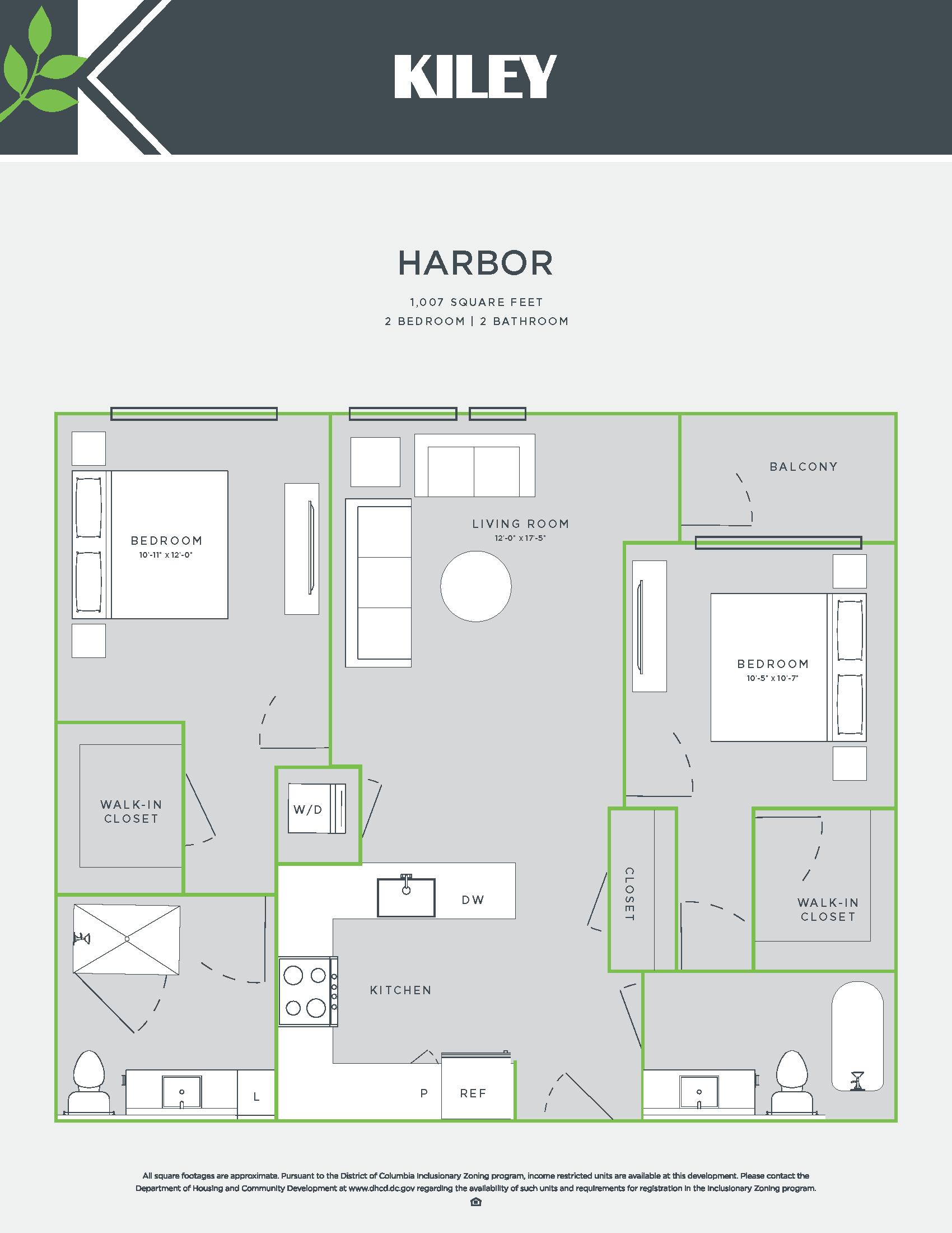 Harbor (2 bed /2 bath) Floor Plan