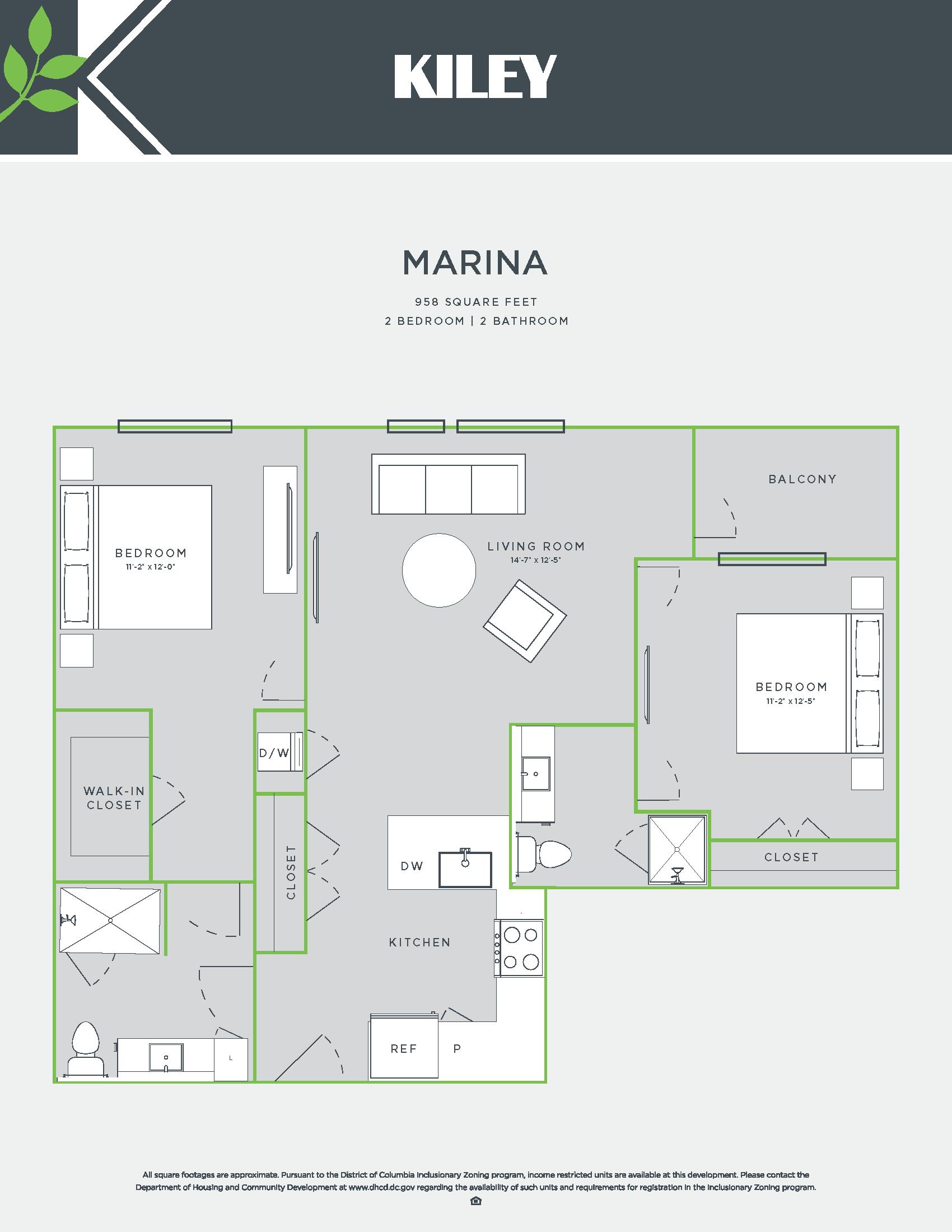 Marina (2 bed /2 bath) Floor Plan