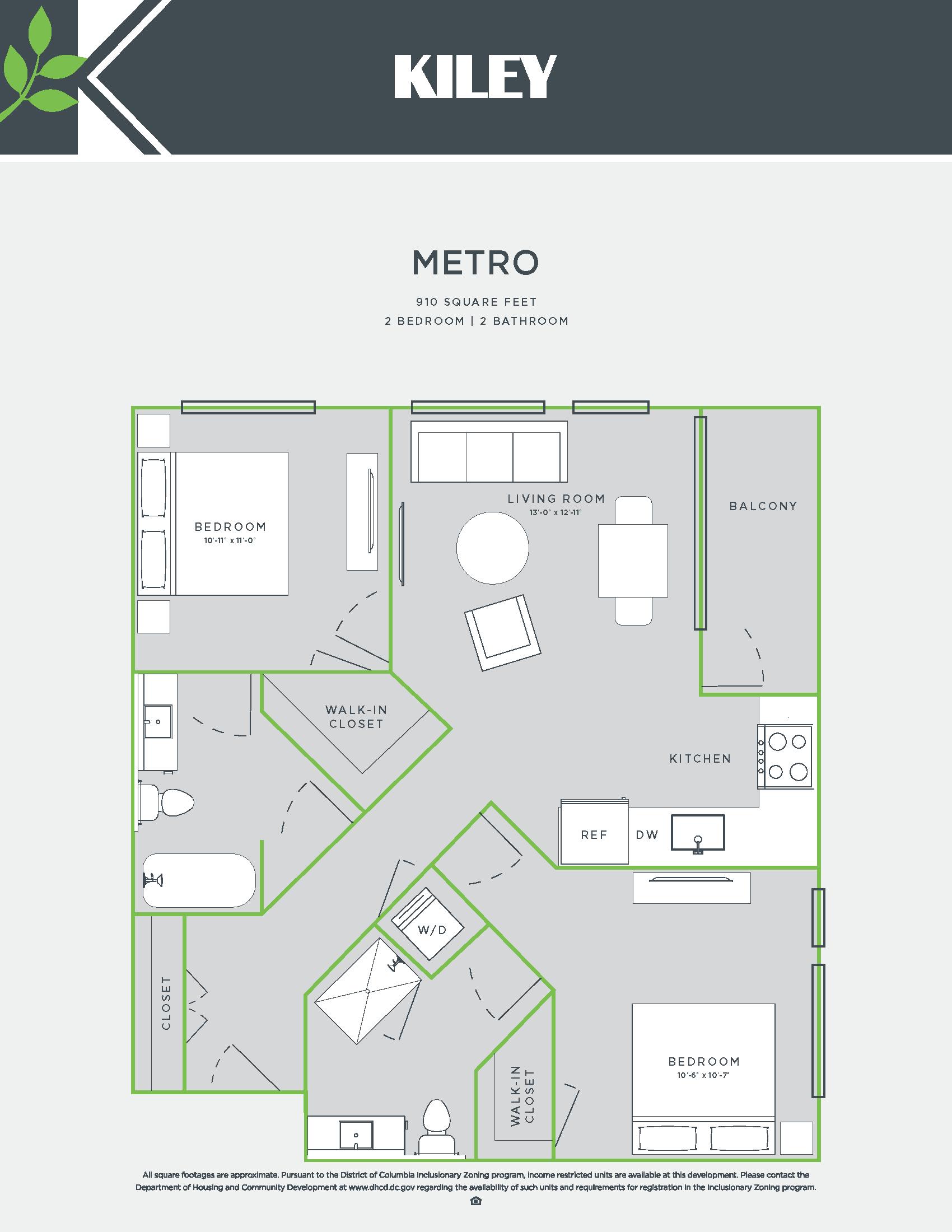 Metro (2 bed /2 bath) Floor Plan