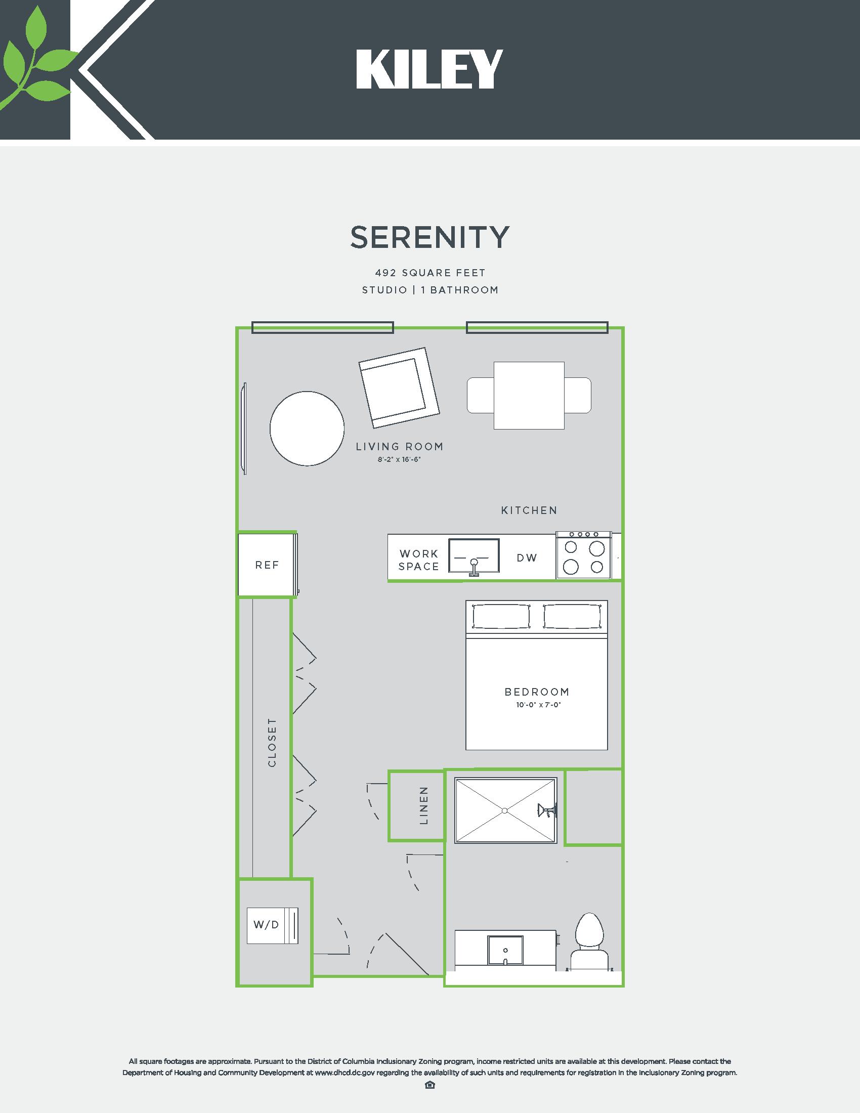 Serenity A (jr. 1 bed /1 bath; accessible) Floor Plan