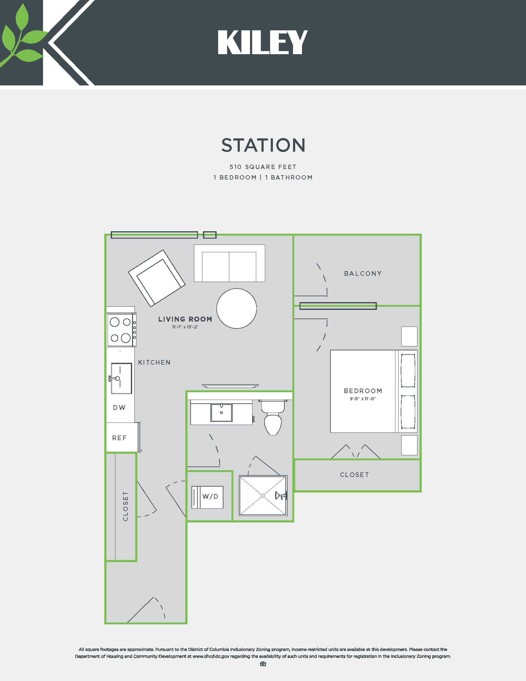 Station (jr. 1 bed /1 bath) Floor Plan