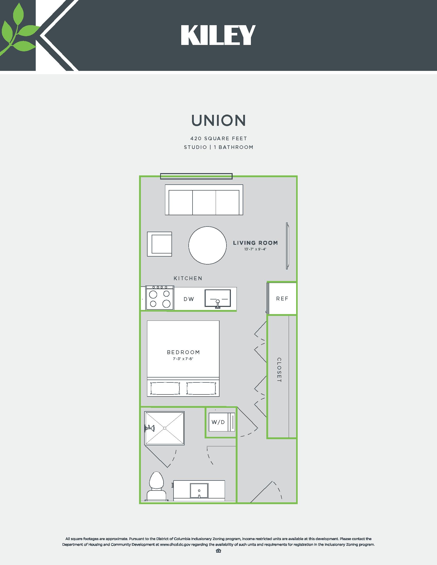 Union (studio /1 bath) Floor Plan