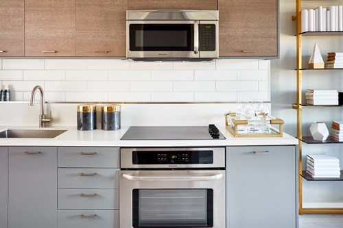 Stainless steel appliances and quartz countertops