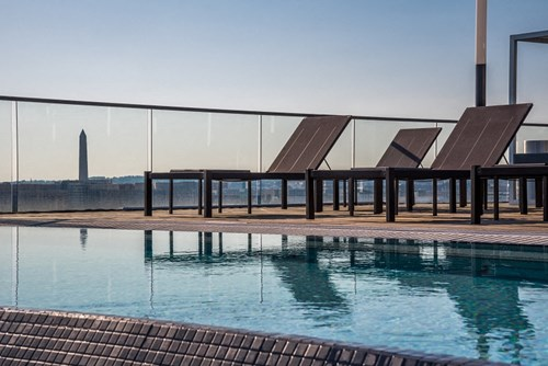 Pool side with a Monumental view