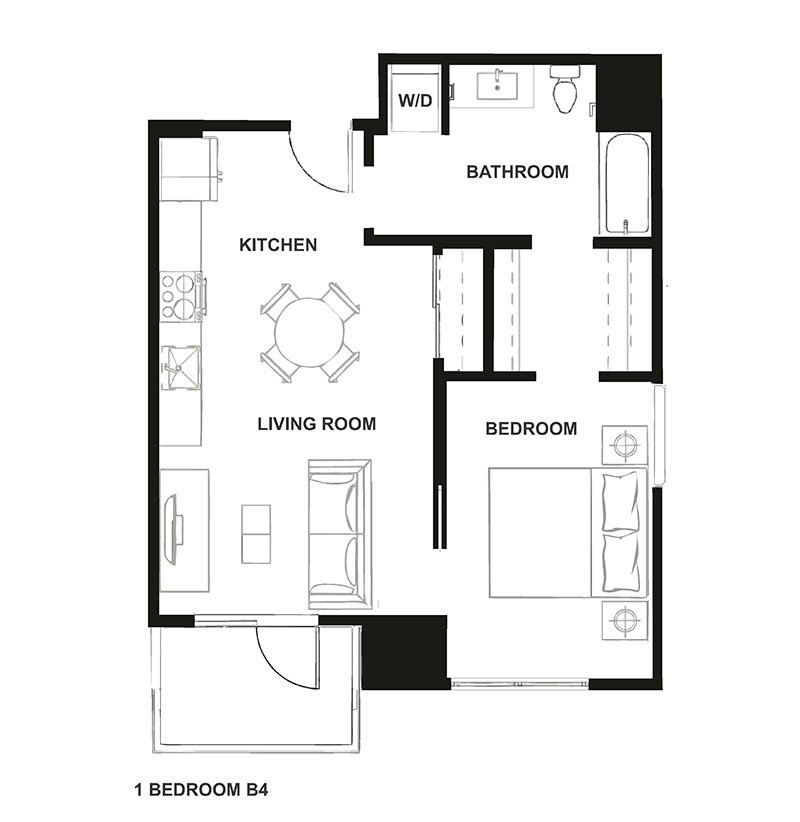 One Bedroom Floor Plan at H16 Apartments