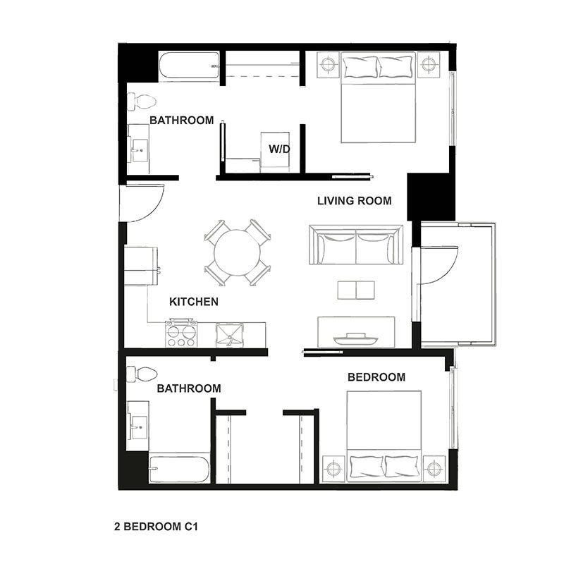 Two bedroom floor plan for H16
