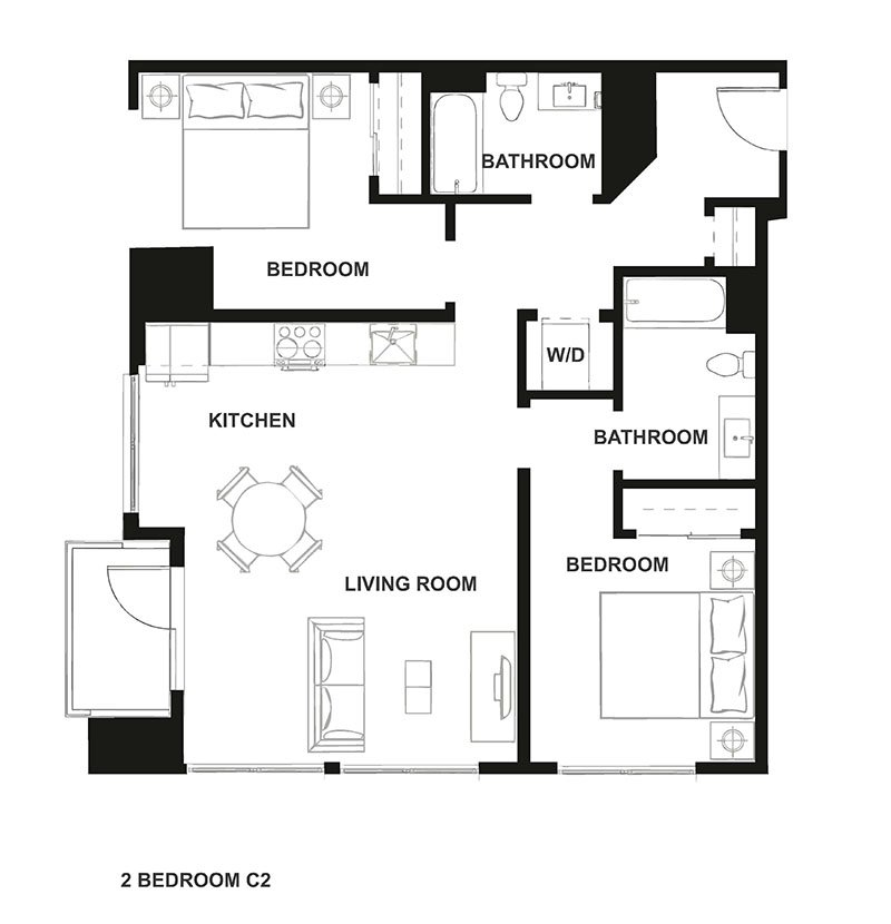 Two Bedroom Floor Plan at H16 Apartments