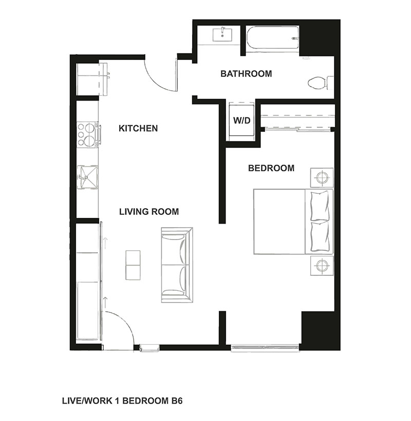 Live Work Floor Plan at H16 Apartments
