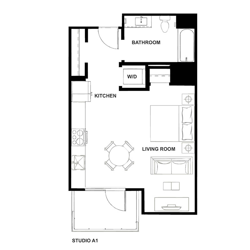 Studio Floor Plan at H16 Apartments