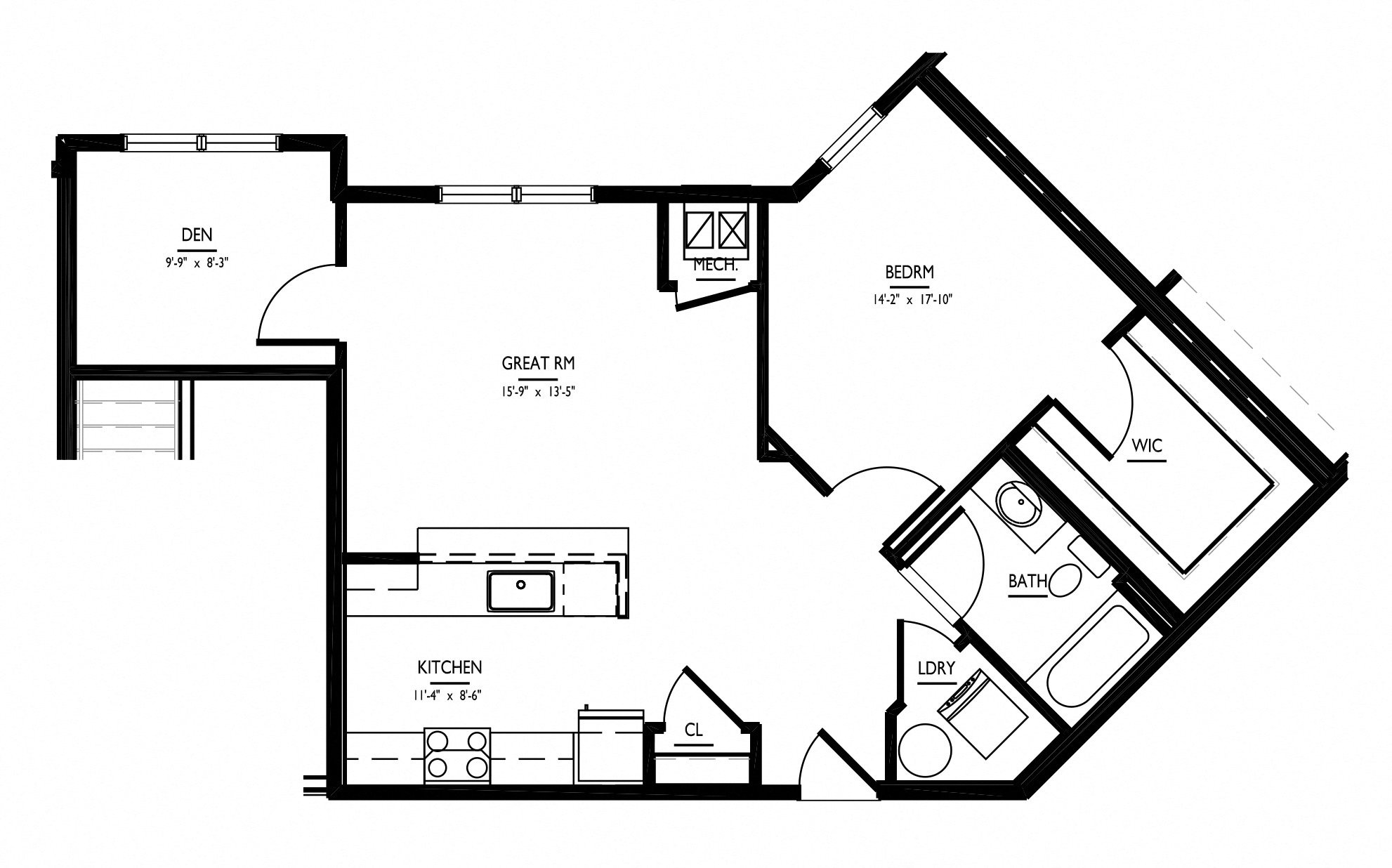 floorplan of apartment 3923