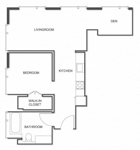 Furnished 1 Bed, 1 Bath with Den