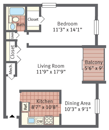 Aspen Hill Apartments - One Bedroom + Balcony Floor Plan Picture