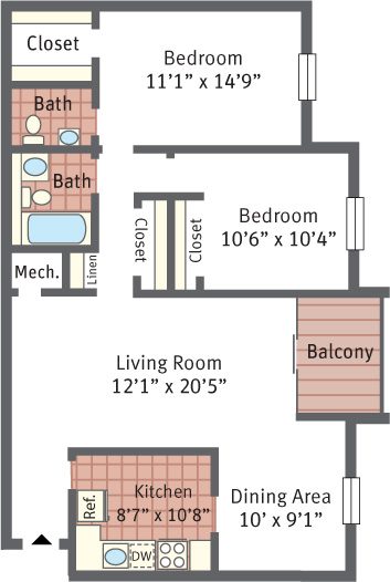 Aspen Hill Apartments - Two Bedroom Terrace Floor Plan Picture