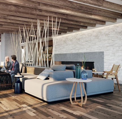 Lounge Area With Fireplace