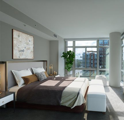 Beautiful Bright Bedroom With Wide Windows
