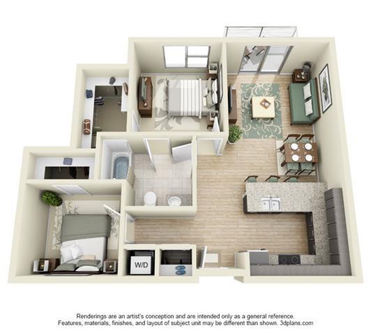 2 BedStudio  1   2 Bedroom Apartments in Denver  CO   Floor Plans of 2 Bedroom Apartments In Denver