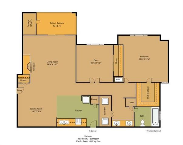 2 Bedroom, 1 Bath (Attached Garages Available)