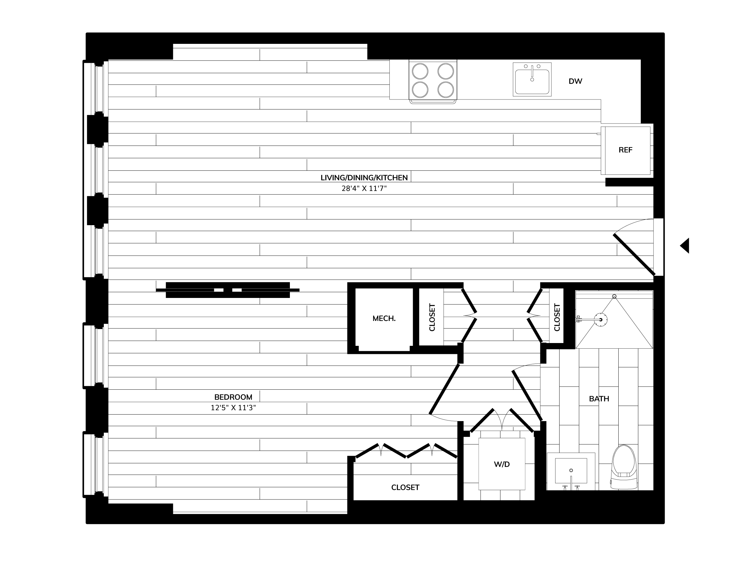 Floorplan image of unit 1105